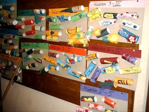 Briefkästen im Ferienlager