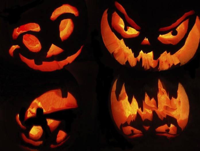 citrouilles d'halloween et reflets