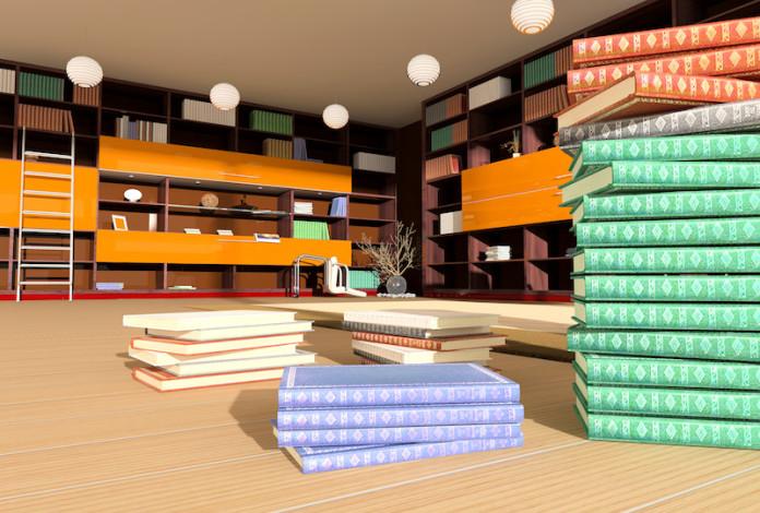 Modern interior of library