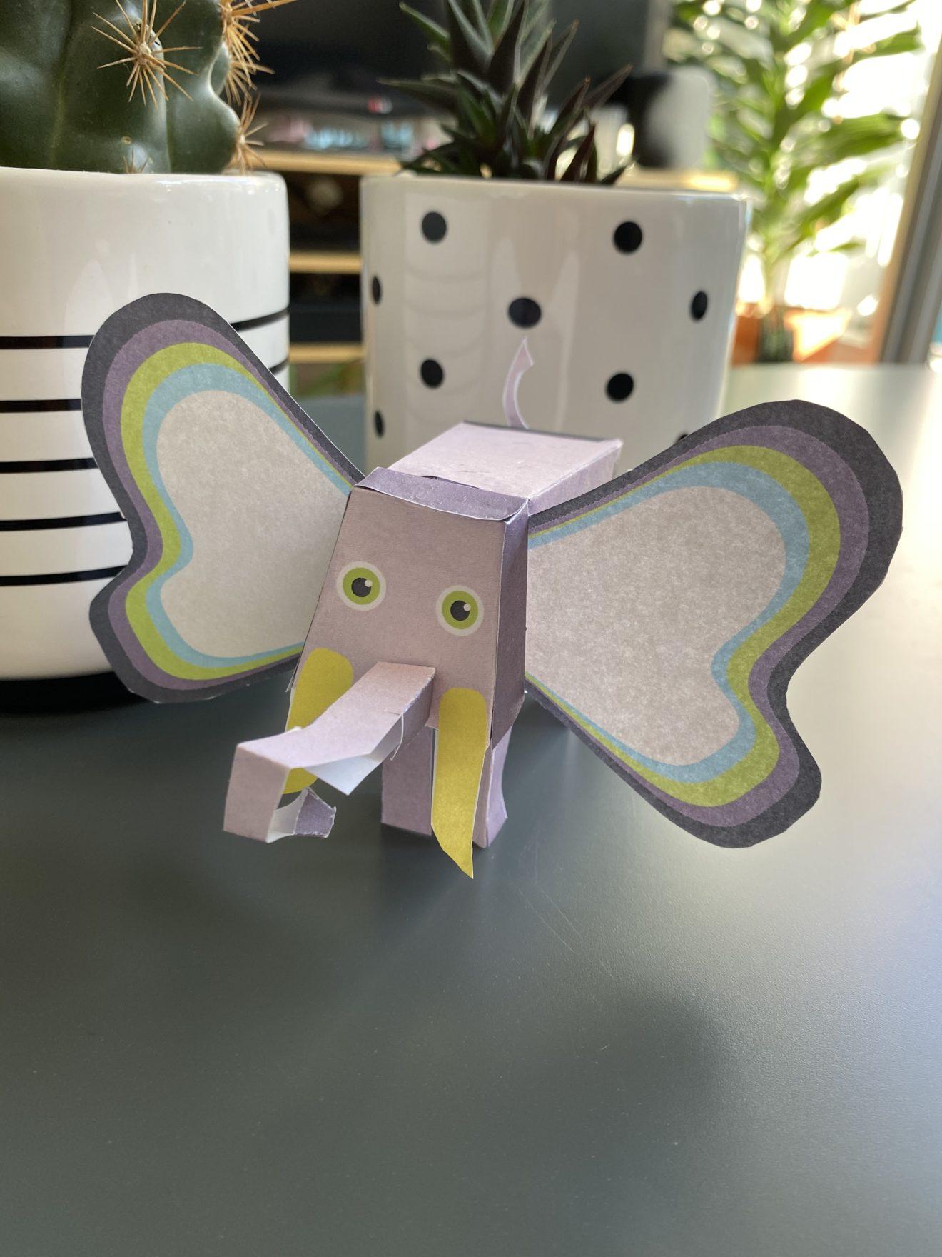 Bastelbogen: Ein Elefant aus Papier