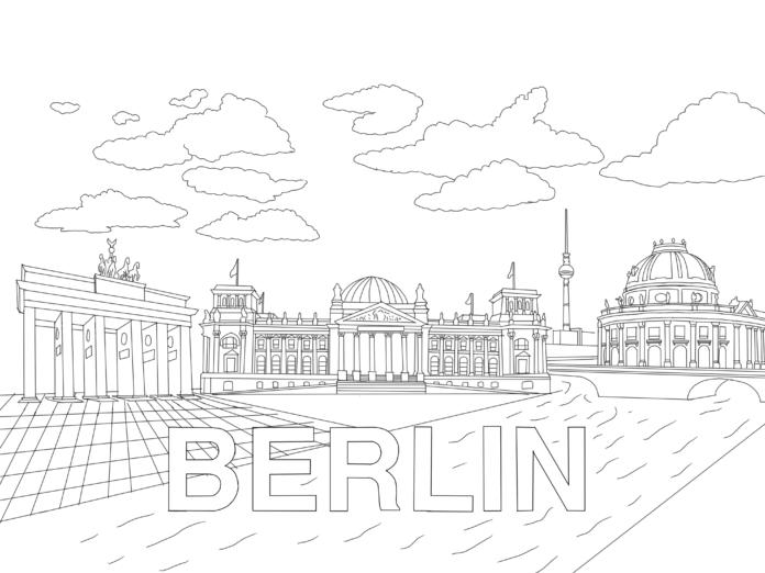Ausmalbild für Kinder: Berlin