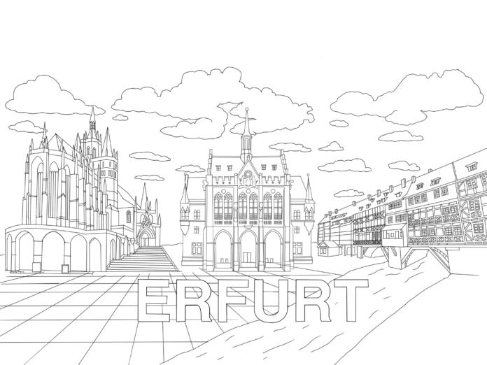 Ausmalbild für Kinder: Erfurt