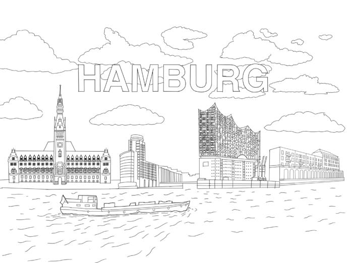 Ausmalbild für Kinder: Hamburg