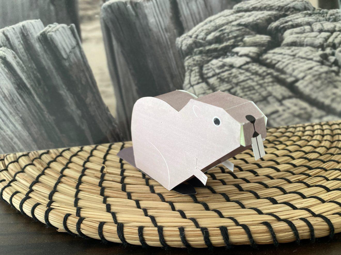 Bastelbogen: Ein Biber aus Papier