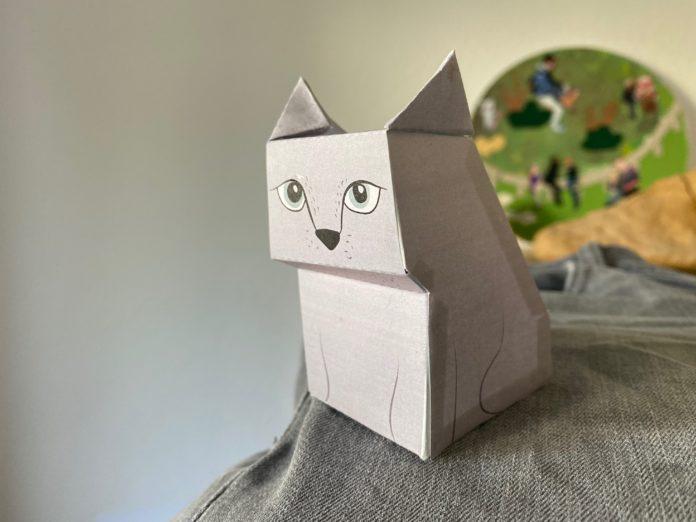 Bastelbogen: Eine Katze aus Papier